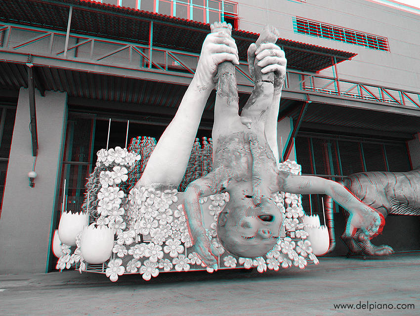 3D stereo Anaglyphs of sculptures, statues, bas-reliefs, monuments