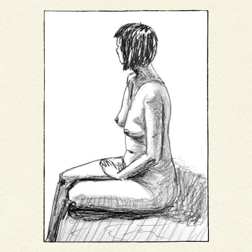 Nude female body sitting from a side